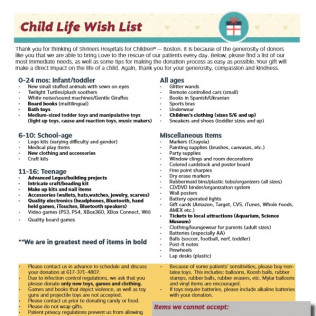 Wish List & Guidelines for DonationsClick to view larger